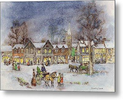 Village Street In The Snow Metal Print by Stanley Cooke