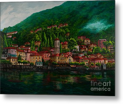 Village View On Lake Como  Metal Print by Charlotte Blanchard
