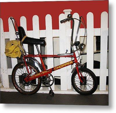 Vintage 1970s Bike With Rucksack  Metal Print
