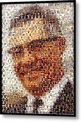 Vince Lombardi Green Bay Packers Mosaic Metal Print by Paul Van Scott