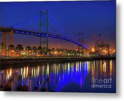 Vincent Thomas Bridge Metal Print by Eddie Yerkish