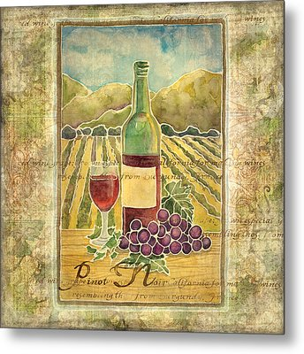 Vineyard Pinot Noir Grapes N Wine - Batik Style Metal Print by Audrey Jeanne Roberts