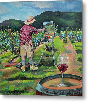 Metal Print featuring the painting Vineyard Plein Air Painting - We Paint With Wine by Jan Dappen