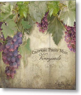 Vineyard Series - Chateau Pinot Noir Vineyards Sign Metal Print by Audrey Jeanne Roberts