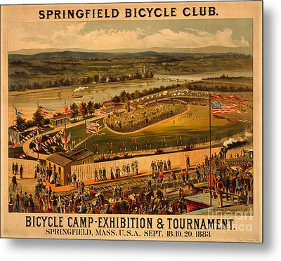 Vintage 1883 Springfield Bicycle Club Poster Metal Print by John Stephens