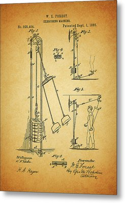 Vintage 1885 Exercising Device Patent Metal Print by Dan Sproul