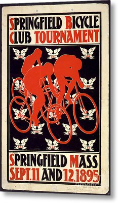 Vintage 1895 Springfield Bicycle Club Poster Metal Print by John Stephens