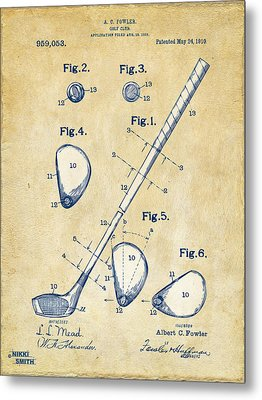 Vintage 1910 Golf Club Patent Artwork Metal Print by Nikki Marie Smith