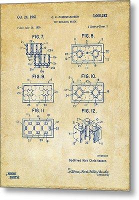 Vintage 1961 Lego Brick Patent Art Metal Print by Nikki Marie Smith