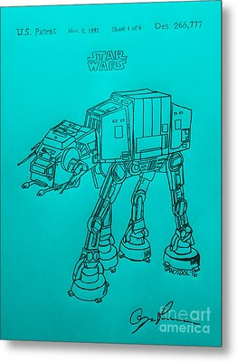 Vintage 1982 Patent Atat Star Wars - Blue Background Metal Print