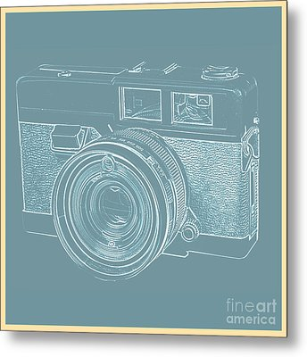 Vintage 35mm Film Camera Blue Pop Art Metal Print by Edward Fielding