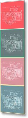 Vintage 35mm Film Camera Pop Art Totem Metal Print by Edward Fielding