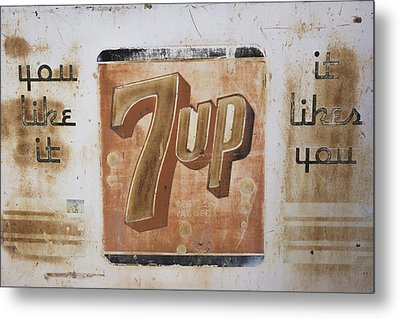 Vintage 7 Up Sign Metal Print by Christina Lihani