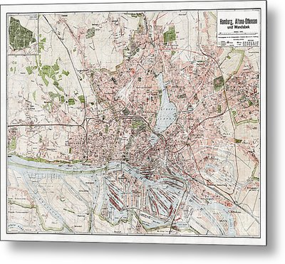 Vintage Antique Hamburg Germany City Map Metal Print by ELITE IMAGE photography By Chad McDermott