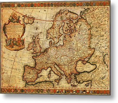 Vintage Antique Map Of Europe French Origin Circa 1700 On Worn Distressed Parchment Canvas Metal Print
