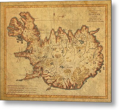 Vintage Antique Map Of Iceland Metal Print by Design Turnpike