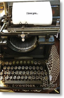 Vintage Antique Typewriter - Inspirational Vintage Typewriter  Metal Print by Kathy Fornal