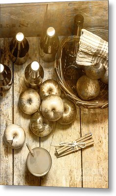 Vintage Apple Cider On Wood Crate Metal Print