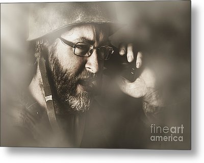 Vintage Army Soldier With Modern Mobile Technology Metal Print by Jorgo Photography - Wall Art Gallery