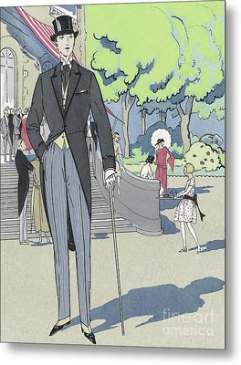 Vintage Art Deco Fashion Print Depicting A Man In Morning Dress Metal Print by French School