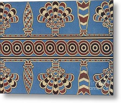 Vintage Assyrian Textile Design Metal Print