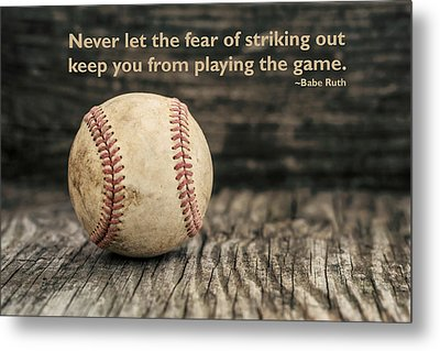 Vintage Baseball Babe Ruth Quote Metal Print
