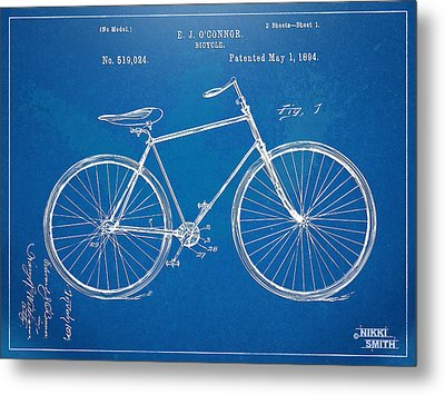 Vintage Bicycle Patent Artwork 1894 Metal Print by Nikki Marie Smith