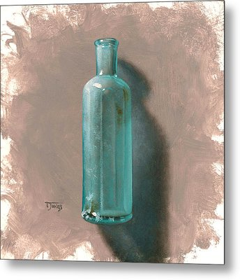 Vintage Blue Bottle Metal Print by Timothy Jones