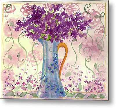 Metal Print featuring the painting Vintage Blue Flower Bouquet by Cathie Richardson