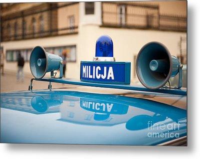 Vintage Blue Militia Car Cherry Metal Print