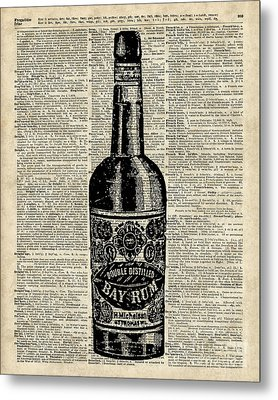 Vintage Bottle Of Rum Over Antique Book Page Metal Print
