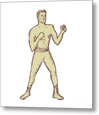Vintage Boxer Pose Etching Metal Print