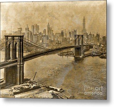Vintage Brooklyn Bridge To Manhattan Metal Print