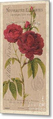 Vintage Burlap Floral 3 Metal Print by Debbie DeWitt