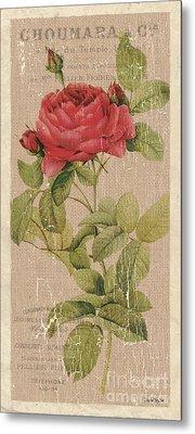 Vintage Burlap Floral Metal Print by Debbie DeWitt