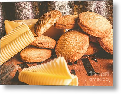 Vintage Butter Shortbread Biscuits Metal Print by Jorgo Photography - Wall Art Gallery