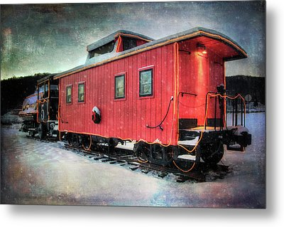 Metal Print featuring the photograph Vintage Caboose - Winter Train by Joann Vitali