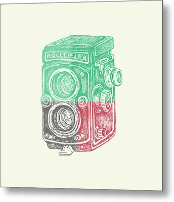 Vintage Camera Color Metal Print by Brandi Fitzgerald