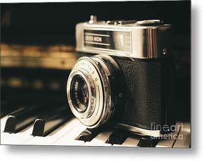Vintage Camera On Piano Metal Print by Pd