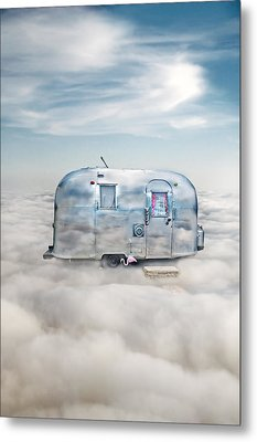 Vintage Camping Trailer In The Clouds Metal Print