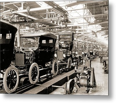 Vintage Car Assembly Line Metal Print by American School