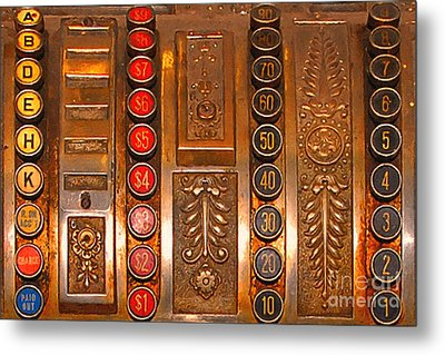 Vintage Cash Register Metal Print by Wingsdomain Art and Photography