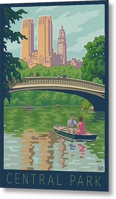 Vintage Central Park Metal Print by Mitch Frey
