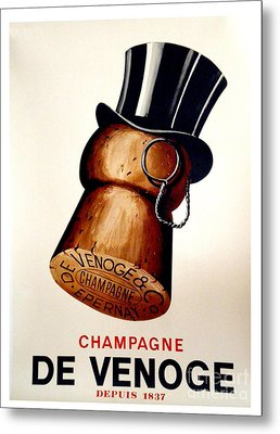 Vintage Champagne Metal Print by Mindy Sommers