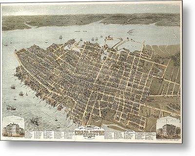 Vintage Charleston South Carolina Map Metal Print