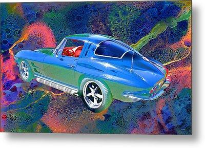 Vintage Chevrolet Corvette Pop Art Metal Print by Lesa Fine