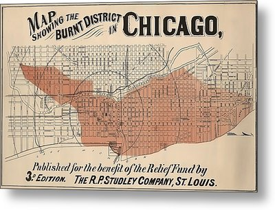 Vintage Chicago Fire Map Metal Print