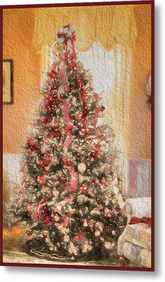 Metal Print featuring the photograph Vintage Christmas Tree In Classic Crimson Red Trim by Shelley Neff