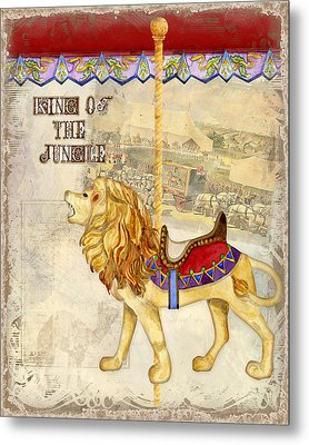 Vintage Circus Carousel - Roaring Lion Metal Print by Audrey Jeanne Roberts