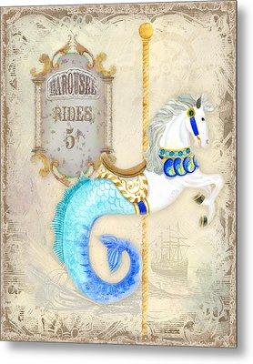 Vintage Circus Carousel - Seahorse Metal Print by Audrey Jeanne Roberts